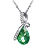 Green rhinestone pendant necklace
