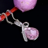 Pink rhinestone pendant necklace