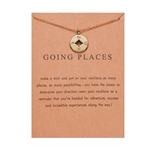 "Silver ""going places"" compass pendant necklace"