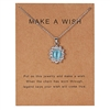 "Silver ""make a wish"" rhinestone pendant necklace"