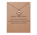"Gold ""good vibes only"" sun pendant necklace"