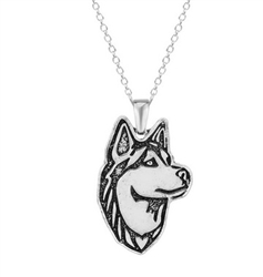 Silver dog breed pendant necklace