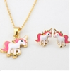 White and pink unicorn pendant necklace with earrings