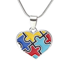Autism awareness heart pendant necklace
