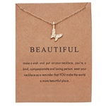 "Gold ""beautiful"" butterfly pendant necklace"