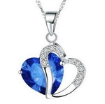 Silver double heart pendant necklace with blue rhinestone