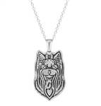 Silver yorkshire terrier pendant necklace