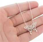 Silver butterfly pendant necklace