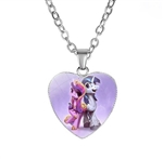 Heart pendant necklace with unicorns