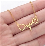 Gold heartbeat with paw pendant necklace