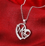 Silver mom pendant heart necklace with rhinestones
