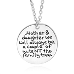 Mother/daughter family tree nuts silver pendant necklace
