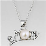 Mom silver pendant necklace with pearl