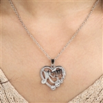 Silver heart mom pendant necklace with rhinestones