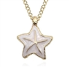 Gold pendant necklace with white starfish