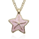 Gold pendant necklace with pink starfish