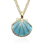 Gold pendant necklace with blue seashell