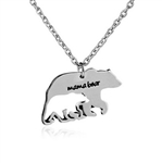 Mama bear pendant on silver chain necklace
