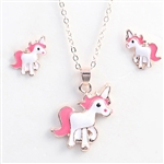 Rose gold, White and pink unicorn pendant necklace with earrings
