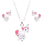 Silver, White and pink unicorn pendant necklace with earrings