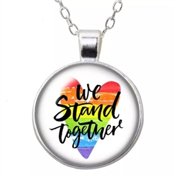 Pride we stand together heart penant necklace