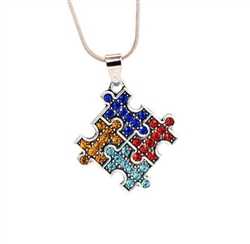 Autism awareness rhinestone pendant necklace