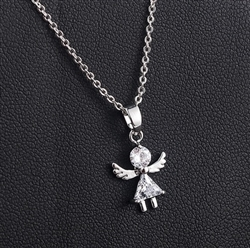 Tiny rhinestone angel pendant necklace