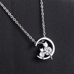 Tiny rhinestone kitties pendant necklace