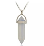 Silver necklace with white stone pendant
