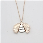 "Rose gold ""you are my sunshine"" sunflower pendant necklace"