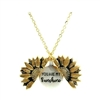 "Gold ""you are my sunshine"" sunflower pendant necklace"
