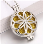 Round perfume diffuser locket pendant necklace