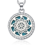 Silver perfume diffuser locket pendant necklace