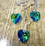 Sparkly crystal heart necklace and earring set