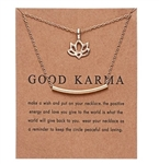 "Gold ""Good Karma"" lotus pendant necklace"