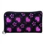 Hot pink and black wristlet/clutch purse with hearts