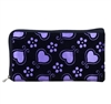 Purple and black wristlet/clutch purse with hearts