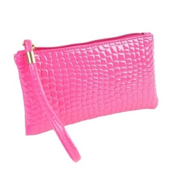 Snakeskin pattern hot pink wristlet/clutch purse