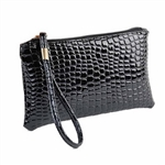 Snakeskin pattern black wristlet/clutch purse