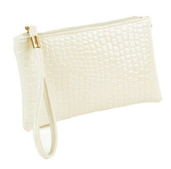 Snakeskin pattern white wristlet/clutch purse