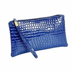 Snakeskin pattern blue wristlet/clutch purse