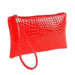 Snakeskin pattern red wristlet/clutch purse