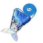 Blue to silver flip/reversible sequin mermaid tail purse
