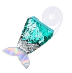 Green to silver flip/reversible sequin mermaid tail purse