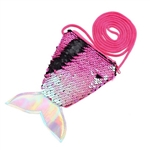 Black to hot pink flip/reversible sequin mermaid tail purse