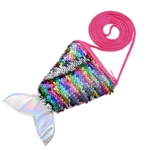 silver to rainbow flip/reversible sequin mermaid tail purse