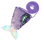 Purple to green flip/reversible sequin mermaid tail purse