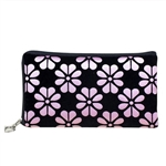 Light Pink and black wristlet/clutch purse with flowers