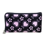 Pink and black wristlet/clutch purse with hearts