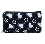 White and black wristlet/clutch purse with hearts